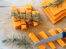 Chopping squash slices Royalty Free Stock Photography