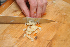 Chopping vegetables Royalty Free Stock Image
