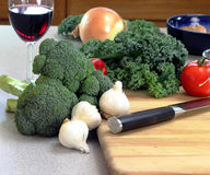 Chopping vegetables Royalty Free Stock Photography