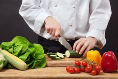 Chopping vegetables Royalty Free Stock Photo