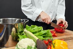 Chopping vegetables Stock Photos
