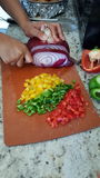 Chopping vegetables Stock Images