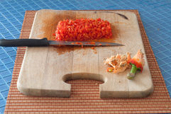 Chopping vegetables Stock Photos