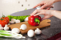 Chopping vegetables stock photo