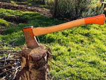 Chopping winter wood for fuel Stock Image
