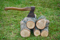 Chopping wood. Autumn Royalty Free Stock Photography