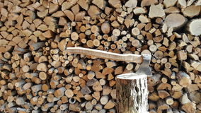 Chopping wood with an ax..background. Royalty Free Stock Photography
