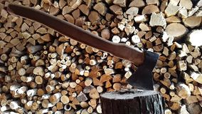 Chopping wood with an ax.Slow motion stock video