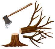 Chopping wood with axe Stock Images