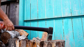 Chopping wood with axe Stock Photography