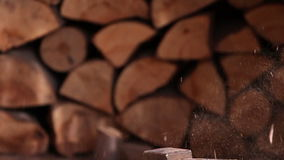 Chopping wood stock video