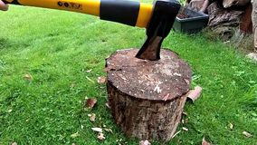 Chopping wood slow motion. stock video footage