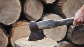 Chopping wood slow motion. stock footage