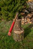 Chopping wood to the fireplace for heating on cold winter days. Chopping wood to the fireplace for fuel on cold winter days. An old strong ax can handle the stock image