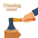Chopping wood. vector. Chopping wood. Lumberjack splitting wood hold ax in hand. Axe chops firewood. Woodcutter carrying logs. Vector illustration flat design vector illustration