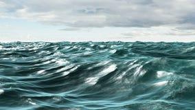 Choppy błękitny ocean pod chmurnym niebem ilustracja wektor