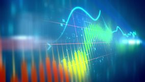 Choppy business line chart. Striking 3d rendering of a multicolored business line chart taken aslant with a fluctuating index line in the light blue background Stock Photography