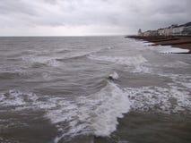 Choppy morze przeglądać od Hastings mola Obraz Stock
