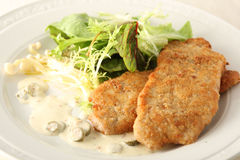 Chops on green salad and white sauce Stock Image