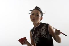 chopstick κορίτσι Ασιάτης Στοκ Εικόνες