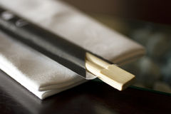 Chopstick. And napkin on the table stock photo