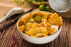 Chopstick And Laksa Curry Noodles With Plenty Of Raw Ingredients Stock Image