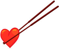 Chopstick with heart Stock Photography