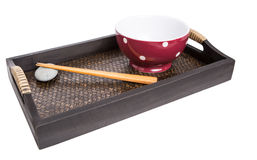 Chopstick, Red Bowl and Tray II Royalty Free Stock Photography