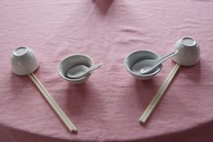 Chopstick and spoon Royalty Free Stock Image