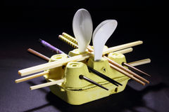 Chopstick and Spoon on Egg Carton Stock Images