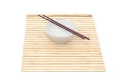 chopsticks κύπελλων μπαμπού χαλί Στοκ Φωτογραφία