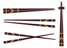 chopsticks Ajuste acessórios para o sushi isolado em Backgrou branco Imagem de Stock