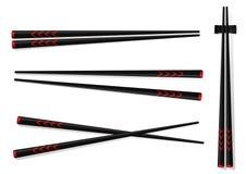 chopsticks Ajuste acessórios para o sushi isolado em Backgrou branco Fotografia de Stock Royalty Free