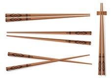 chopsticks Ajuste acessórios para o sushi isolado em Backgrou branco Imagens de Stock Royalty Free