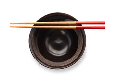Chopsticks and black bowl Stock Photo
