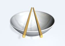 Chopsticks and bowl. 3d image with bowl and chopsticks Royalty Free Stock Photography