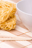 Chopsticks,bowl and noodles royalty free stock images