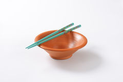 Chopsticks and bowl Royalty Free Stock Photography