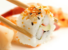 Chopsticks with california roll Stock Image