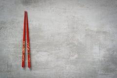 Chopsticks on concrete table. Chopsticks on gray concrete stone table background stock photography
