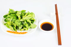 Chopsticks and dishes Royalty Free Stock Photos
