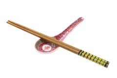 Chopsticks e colher de sopa Foto de Stock