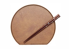 Chopsticks e placa Foto de Stock