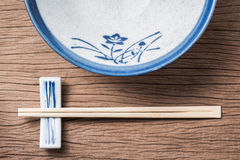 Chopsticks with empty bowl Royalty Free Stock Photos