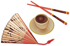 Chopsticks, fan, cup of tea. Royalty Free Stock Photos