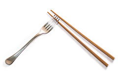 Chopsticks and fork Stock Image
