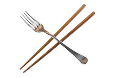 Chopsticks and fork Stock Images