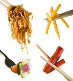 Chopsticks and fork utensils Stock Photos