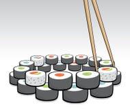 Chopsticks grabbing some sushi Stock Photo