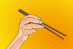 Chopsticks in hand. Vector illustration - Beautiful finger outline version. Created with adobe illustrator. finger, background, are Created separately Royalty Free Stock Photography
